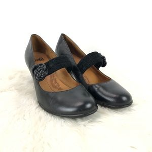 Sofft Black Leather Mary Jane Pumps Heels